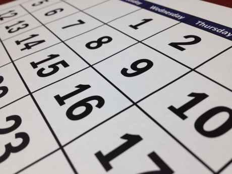 black calendar close up composition